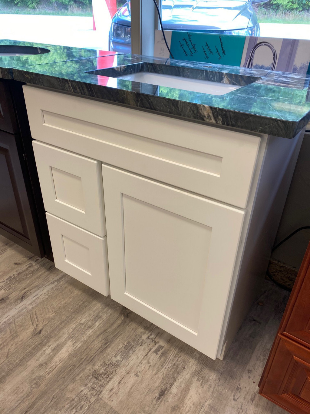 33 inch White Shaker with Granite Top
